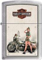 Zippo Hd Harley Davidson 1940's Wwii Us Army Pinup Satin Chrome Lighter on Sale