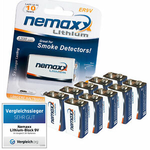 10x-9V-Lithium-Block-Batterie-von-Nemaxx-ER9V-E-Block-im-Blister-fuer-Rauchmelder