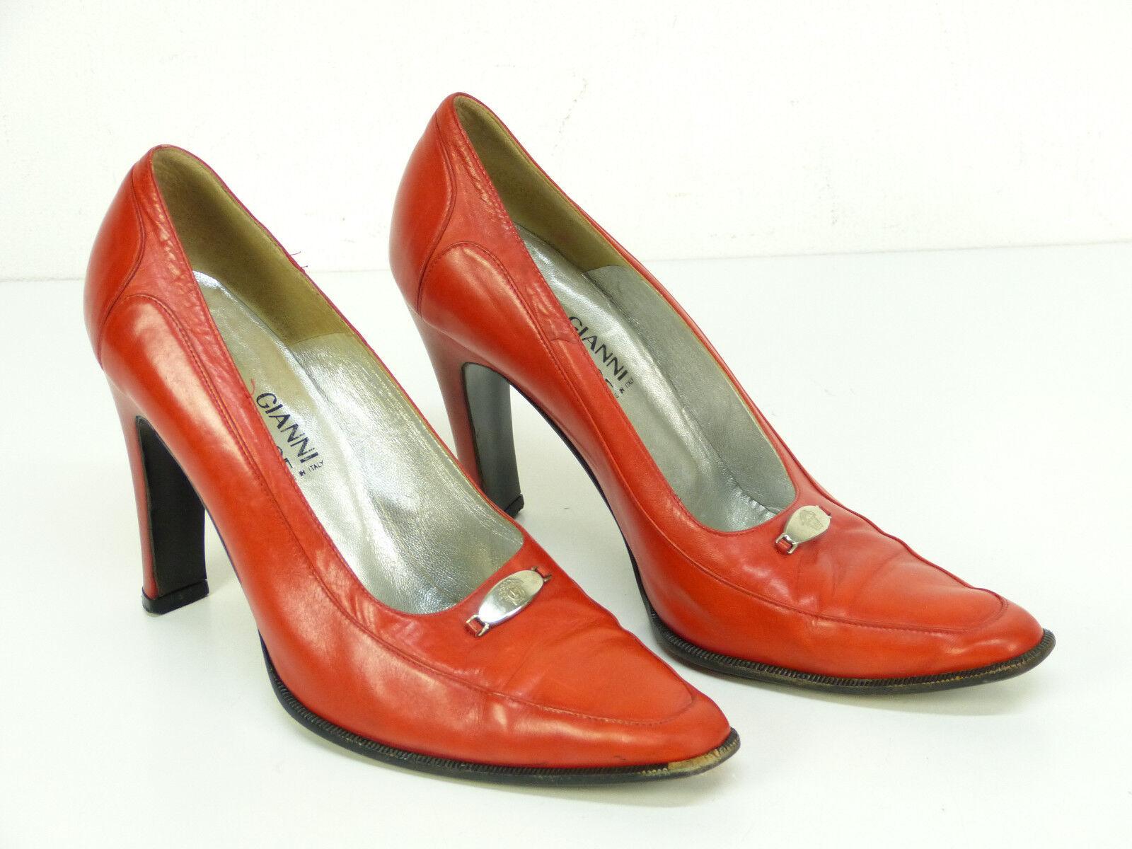 Gianni VERSACE PELLE PUMPS puro taglia 37,5/Rosso Argilla & puro PUMPS lusso-elegante (N 5382 R) 185dda