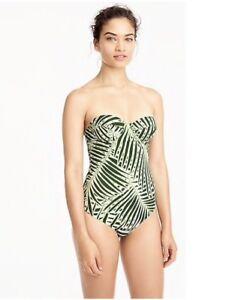 70d5f8e242 J. Crew Demi underwire one-piece swimsuit in palm leaf print sz 0 ...