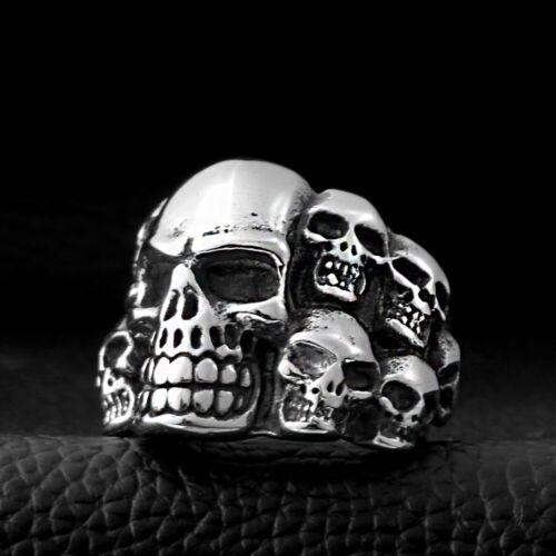 Bague en Acier Inox Tête de Mort Croix Stacked Argent Noir Gothique Biker Homme