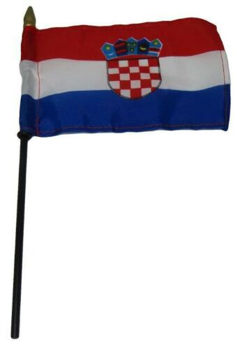 """Croatia Country 4/""""x6/"""" Flag Desk Set Table Wooden Stick Staff"""