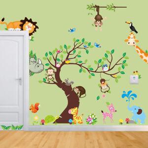 Details zu Wandtattoo Kinderzimmer Löwe Affe Vogel Nashorn Aufkleber Baum  Elefant Baby Ast