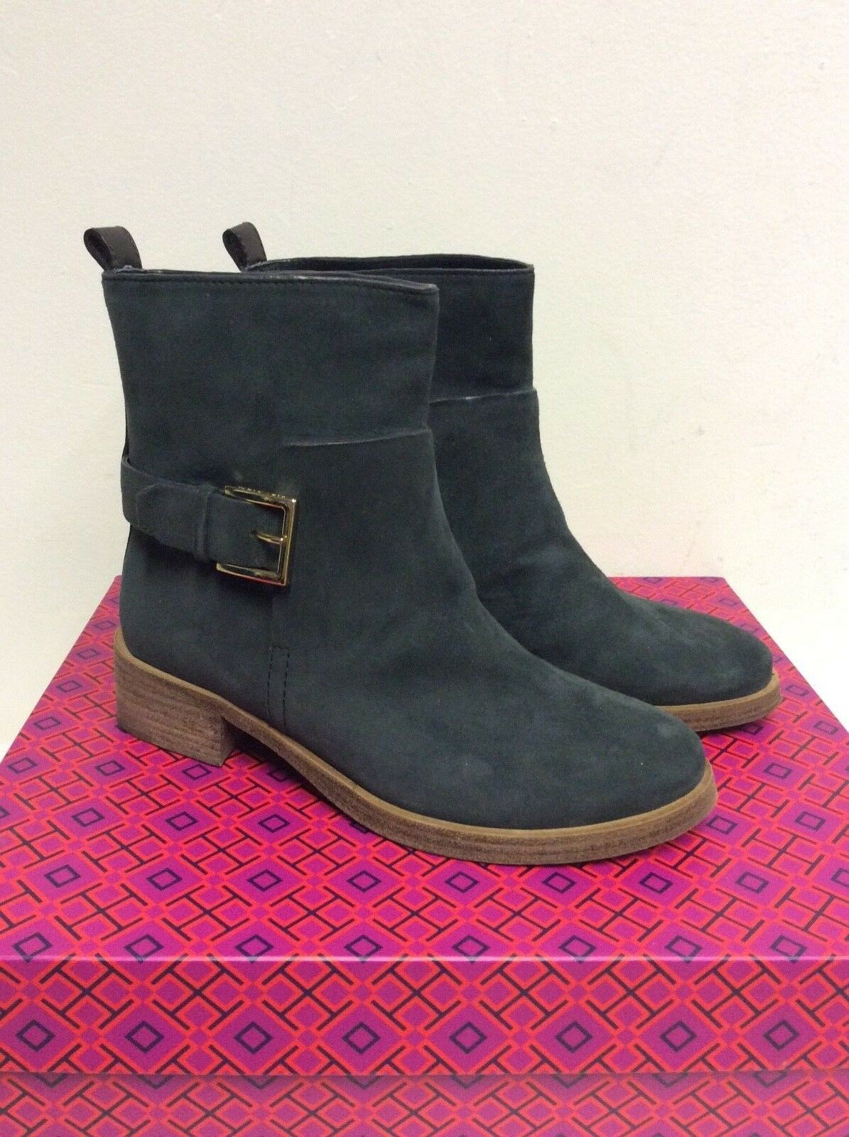 Tory Burch Irlandais Anthracite Ridley Daim Boucle Trim Cheville Bottes Taille 4 37