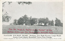 "Front Royal VA * Naylor Tourist Home 1930s ""Father of Skyline Drive"" Adv. Card"