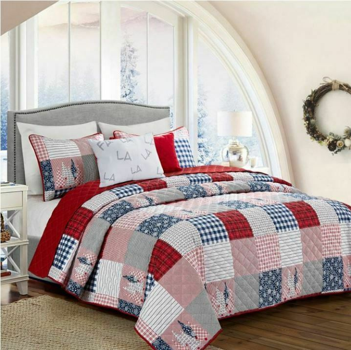 5-Piece King Queen Quilt Set Patchwork Madras, Plaid Print Blau rot Weiß