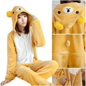Rilakkuma Adult Pajamas Kigurumi Cosplay Costume Animal Onesie Sleepwear Suit!