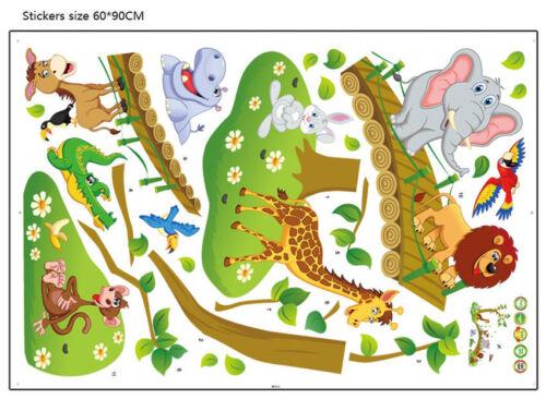 Wall Stickers Animal Bridge zoo Giraffe Elephant Wall Decal children kid room