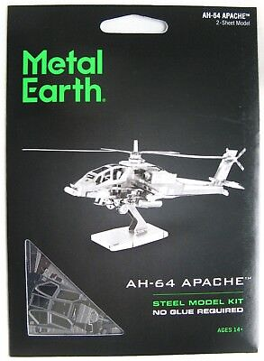 METAL EARTH APACHE ATTACK HELICOPTER - 3D METAL MODEL KIT - BRAND NEW & SEALED!!