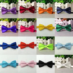 Solid-Boys-Kids-Bowtie-Pre-Tied-Wedding-Party-Satin-Bow-Ties-Necktie-Tie