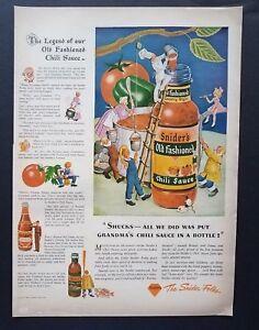 1943-Sniders-Old-Fashioned-Chili-Sauce-Art-Vintage-Print-Ad-Kitchen-Decor-1940s
