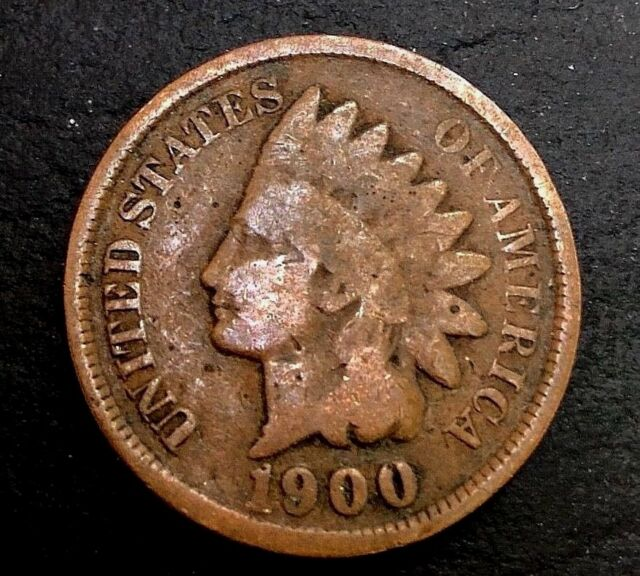 1900 1c Indian Head cent penny Bronze