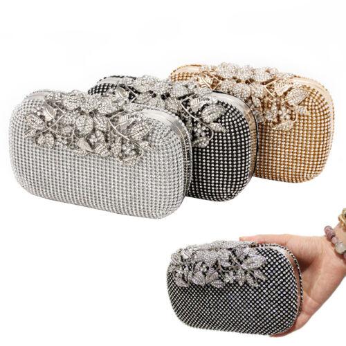 Women Evening Clutch Bag Crystal Rhinestone Flower Bridal Wedding Handbag Purse