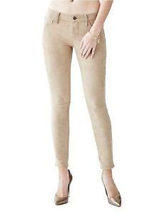Guess Mujer Braga Potencia Flaco Ante De Imitacion Pantalones Caqui Talla 25 Ebay
