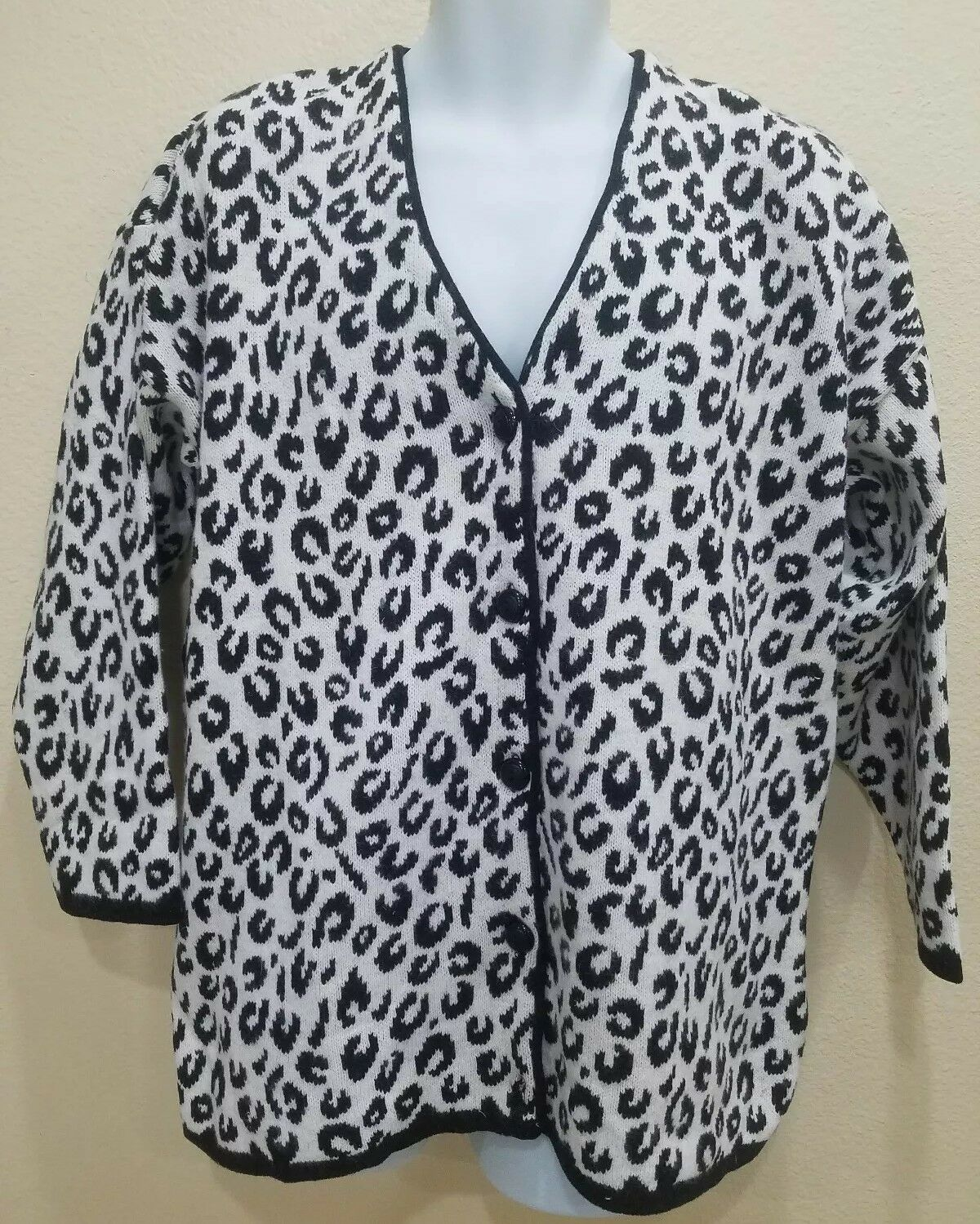 Maglia women Leopard Print Sweater Made in  15% Angora Rabbit Hair Size M