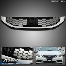 Fit For 13 2015 Honda Civic Sedan Black Amp Chrome Front Bumper Hood Upper Grille Fits 2013 Honda Civic Si