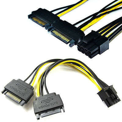 Dual 15Pin SATA Male To PCIe 8Pin(6+2) Male Video Card Power Cable