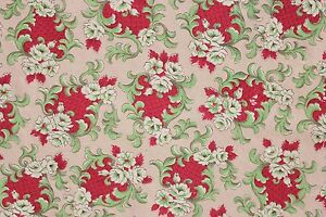 image is loading vintage christmas fabric material red green 1940 1950 - Vintage Christmas Fabric