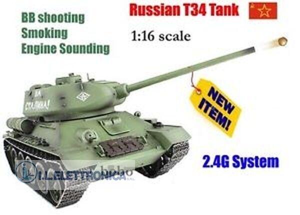 TANK ARMATO RADIOGUIDÉ URSS T-34 ÉCHELLE ÉCHELLE ÉCHELLE 1:16 SHOOT FA BRUIT ET LA FUMÉE 29001 7e466c