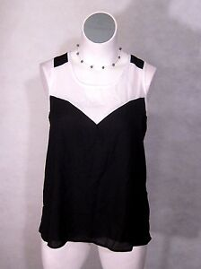 NEW-Ashley-Stewart-Black-amp-White-Keyhole-Cami-Work-Tank-Top-Blouse-10-12-XL-0x
