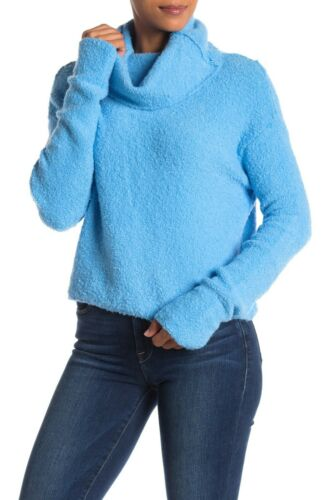 Size Small NWT Free People Stormy Cowl Neck Pullover Sweater Blue