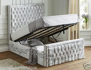Filo Storage End Opening Ottoman Bed Upholstered In Velvet Double