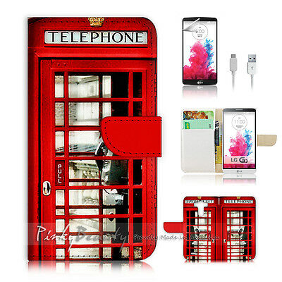 LG G3 Print Flip Wallet Case Cover! Old UK Phone Booth P0096