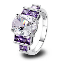 White Topaz & Amethyst Gemstone Silver Ring Size 6 7 8 9 10 Fashion Jewelry