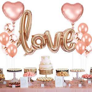 13Pcs Rose Gold Love Balloons Foil /& Confetti Hen Party Wedding Engagement Decor