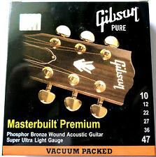 4 Sets Gibson 10-47 Light Masterbuilt Phosphor Bronze Ac Guitar Strings SAG-MB10