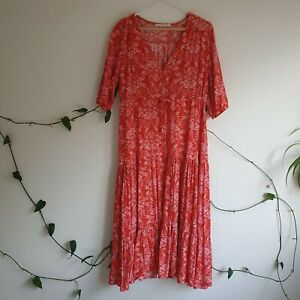 Label-Of-Love-Red-Pink-Floral-Boho-Tiered-Midi-Dress-M-Long-Split-Rayon-TieWaist