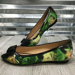 Geox-Women-Retro-Green-Tiger-Ballet-Flat-Peep-Toe-Patent-Leather-Trim-Size-7