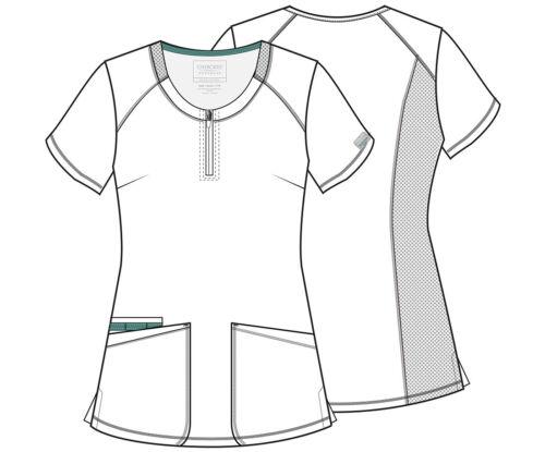 NEW STYLE Black Cherokee Scrubs Workwear Revolution Round Neck Top WW602 BLK