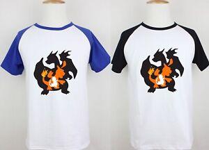 Charmander-Charmeleon-Charizard-Print-Mens-Short-Sleeve-T-Shirt-Graphic-Tee-Tops