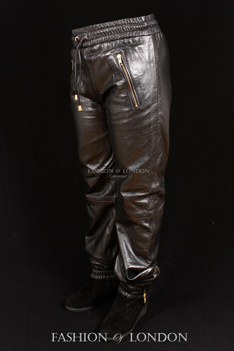 women da corsa black pelle d'agnello Premium REAL LEATHER Jogging Pantaloni 3040