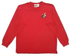 Vintage Looney Tunes Embroidered Long Sleeve Tee Red Size M Mens T-Shirt