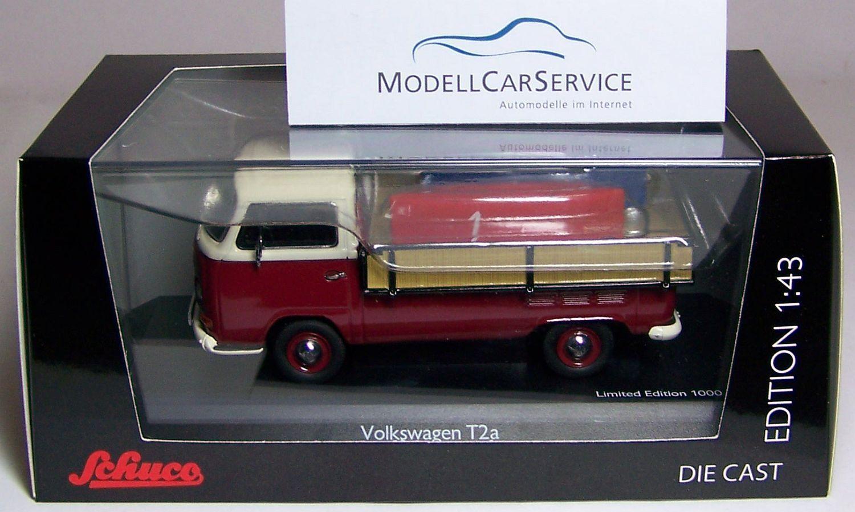 Schuco 1 43  03338 VW T2a Westfalia-Pritsche mit 2 Seifenkisten