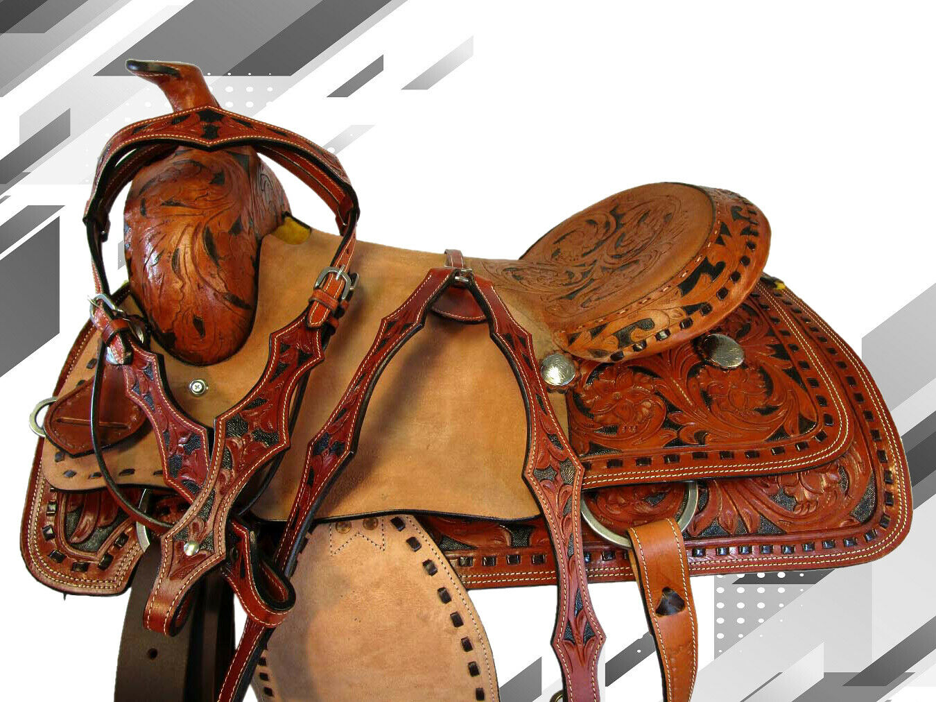 WORKING PLEASURE TRAIL TOOLED LEATHER WESTERN RANCH ROPING HORSE SADDLE 16 17