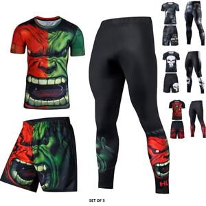 Avengers Bjj Rash Guard Spats Shorts Set Mma Compression Long Short Sleeve Top