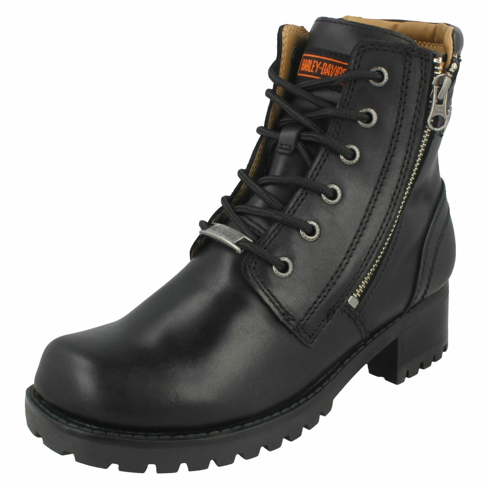 Grandes zapatos con descuento HAELEY DAVIDSON ASHER LADIES LACE ZIP BLOCK HEEL BLACK CASUAL BIKER ANKLE BOOTS
