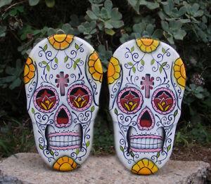 Sugar-Skull-Wood-Wall-Plaque-Mask-Dia-de-Los-muertos-Tattoo-Day-of-Dead-Set-of-2