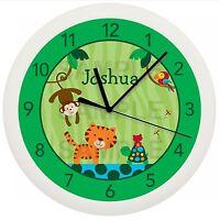 Rain Forest Jungle Wall Clock Nursery Safari Personalized Boys Baby Shower Gift