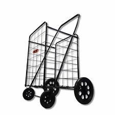 Folding Shopping Rolling Grocery Utility Cart Metal Frame Amp Swivel Wheels