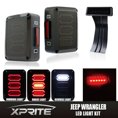 Smoke LED Rear Taillight 3rd Third Brake Light For 07-18 Jeep Wrangler JK