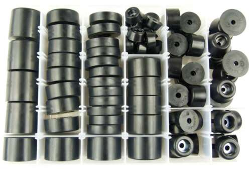 Sortiment mit 88 Gummifüße von Adam Hall mit Stahleinlage Gerätefuß Möbelfüße