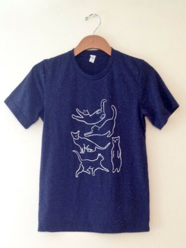Cat Yoga Cat Lovers Unisex T-shirt Blue Speckled Colored S-XL