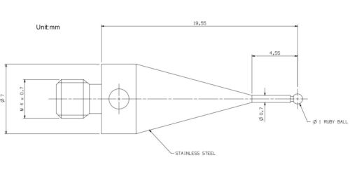 CMM Touch Probe CMM Stylus M4 Thread shank 1mm Ruby Tips 19.5mm Long A-5000-7545