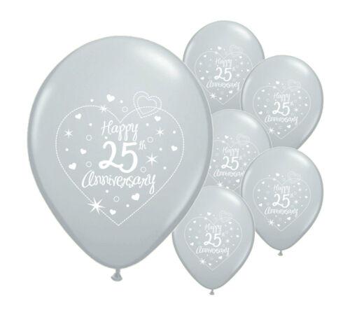 """30 x 25th Argent Anniversaire 12/"""" Hélium Qualité perlée ballons PA"""