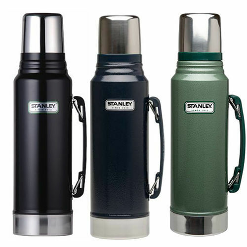 THERMOS NAVY GREEN STANLEY CLASSIC DRINKS FLASK 1L STAINLESS STEEL BLACK