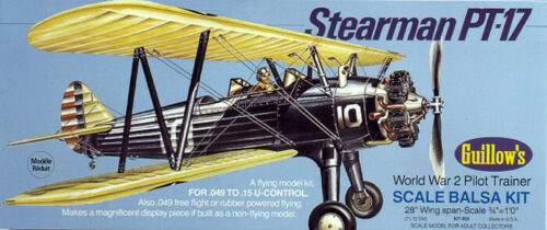Balsa wood airplane model Stearman PT17 Guillows 803